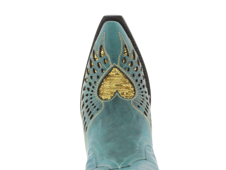 Para Para Para Mujeres Cuero Negro oro Corazón Turquesa Lentejuelas Desgaste botas De Vaquero SNIP Toe a38cff