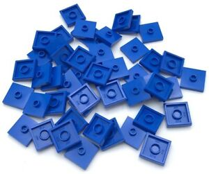 Lego Lot of 50 New Medium Azure Plates Modified 2 x 2 1 Stud in Center Jumpers