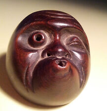"Antique, Boxwood, Fine, Signed, Japanese Netsuke Mask (Mennetsuke) ""Hyottoko"" ??"