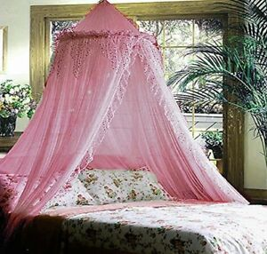 SPARKLE-BLING-BED-CANOPY-MOSQUITO-NET-PINK-QUEEN-FREE-SHIPPING-FROM-USA