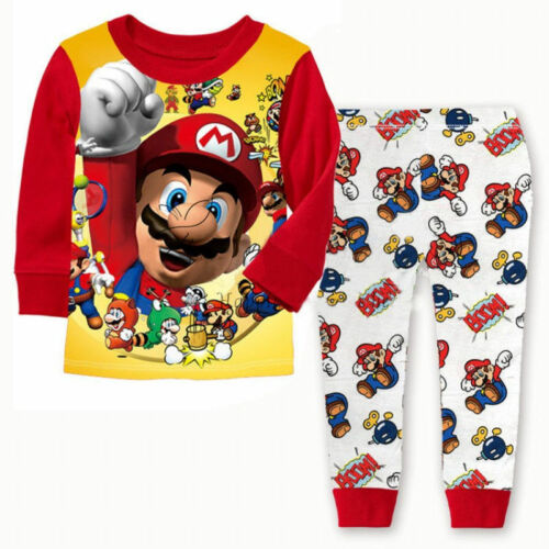 Supper Mario Bros Costume Pajama Set Kids Baby Boy Clothing Cotton T-shirt+Pants