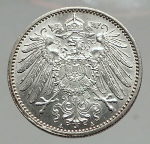 1915-WILHELM-II-of-GERMANY-1-Mark-Antique-German-Empire-Silver-Coin-Eagle-i64601