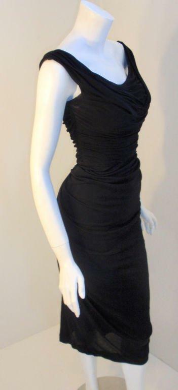 CEIL CHAPMAN 1940s Vintage Black Cocktail Dress - image 3