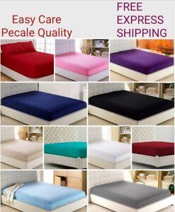 Percale-Deep-drap-feuille-simple-30-cm-Double-King-SKING-ou-taie-d-039-oreiller
