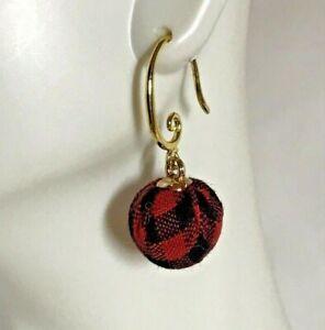 Swirl Drop Earrings in Black and Plaid