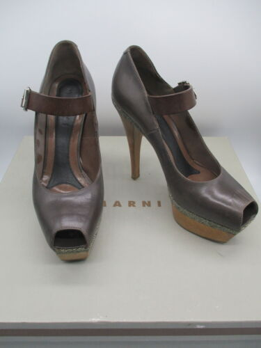 MARNI brown leather platform mary jane pumps sz 37