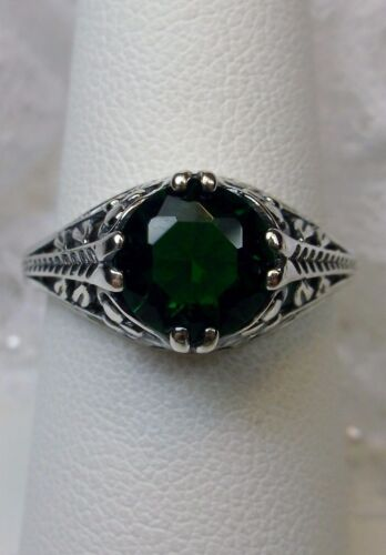 {Made To Order} Art Deco Floral *Emerald* Sterling Silver Filigree Ring Size