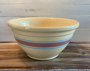 Vintage McCoy USA Oven Ware #12 Large Mixing Bowl Yellow Ware Blue/Pink Stripes