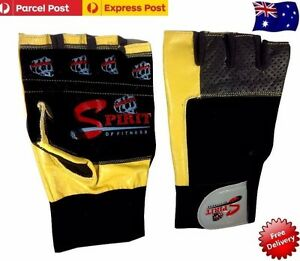 Spirit Weight lifting Gym Gloves Leather Fitness Exercise Body Building New