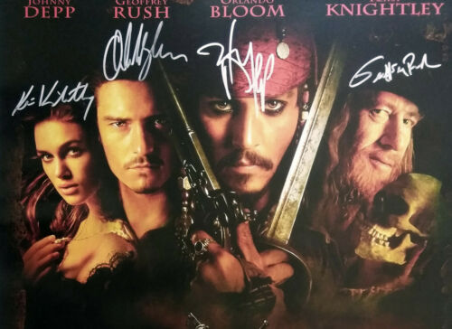 PIRATES OF THE CARIBBEAN MOVIE Poster Signed by 7 cast  Excellent COND replica