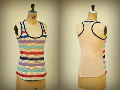AMERICAN EAGLE Size S Racer Back Crochet Mesh Mixed Material Tank Top