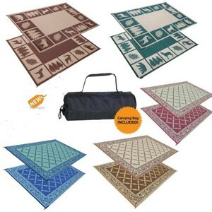 Patio Mat Indoor Outdoor Rug Rv Large Reversible Camping