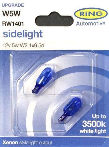 x2 RW1401 Ring W5W 5W Xenon Style 3500K Sidelight Bulbs 12v 5w W2.1x9.5d Wedge