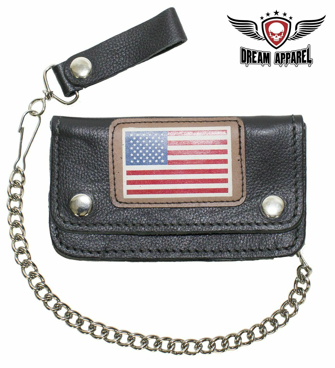 Men's American USA Flag Black Leather Motorcycle Chain Wallet