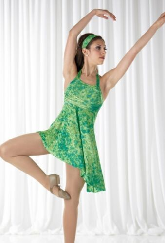 Water Lilies Dance Costume Lime Tie Dye Ballet Dress New Clearance Child Sizes
