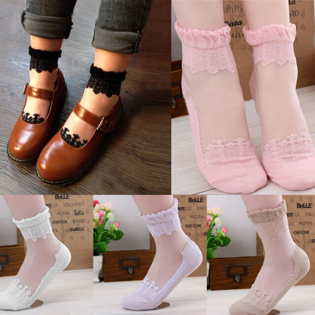 Ultrathin Transparent Beautiful Crystal Lace Elastic Floral Short Socks Hot Sale