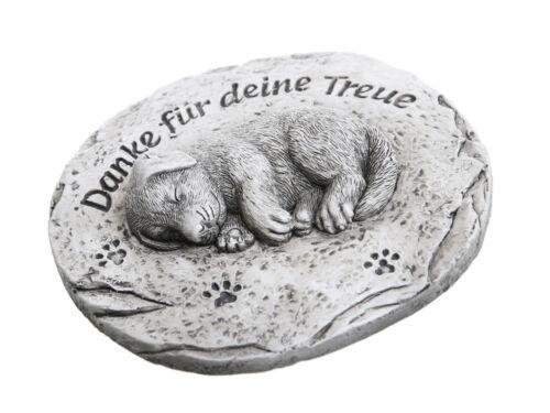 Grabdeko Hund Danke für Deine Treue 11x10 cm Grabstein Trauerstein Grabschmuck