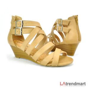 b7e09c1c27760 Women Open Toe Camel Faux Leather Strappy Low Wedge Zipper Sandal ...