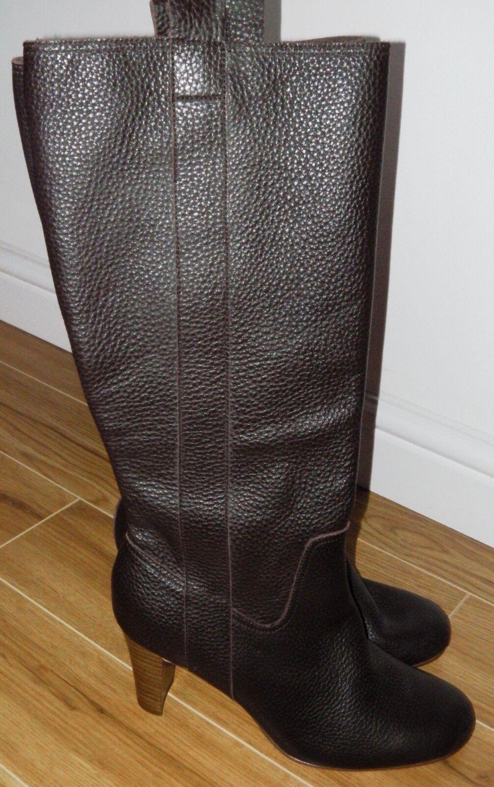 BNWT MARKS & & & SPENCER braun LEATHER Stiefel UK 7.5 EU 41 KNEE HIGH HEELS schuhe    59df27