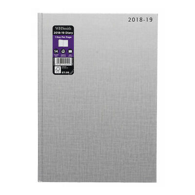 WHSmith 2018-19 A4 Silver Academic Mid Year Diary Day to Page Case Bound