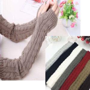 8f41bf5eb30 Women Winter Warm Gloves Wrist Arm Hand Warmer Knit Long Fingerless ...