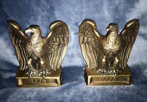 Vintage-Federal-EAGLE-Brass-Cast-Iron-Bookends-Philadelphia-Manufacturing-1776