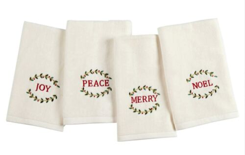 4pc Christmas Embroidered Fingertip towels Noel~Peace~Merry~Joy w//holly $4 each