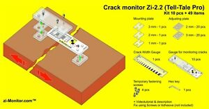 Crack monitor zi-2.2 (Tell-Tale Pro). Kit 10 pcs + 55 items. zi-Monitor.com™