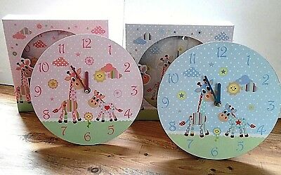 Little Sunshine Wall Clock Baby Blue Giraffes Design by Jennifer Rose