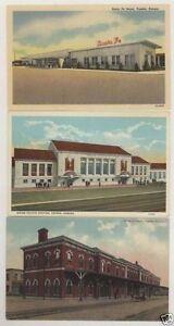 3-Vintage-Topeka-Kansas-KS-Railroad-depot-postcards-Santa-Fe-amp-UPRR