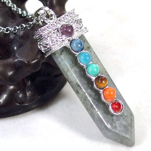 Natural Gemstone Crystal Healing Reiki CHAKRA Arrow Sword Pendant Necklace