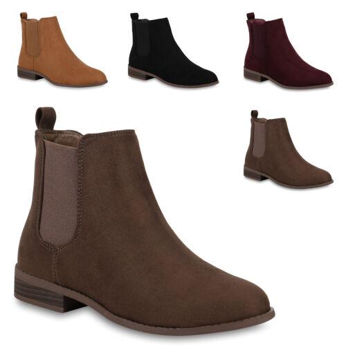 Damen Stiefeletten Chelsea Boots Wildleder-Optik Schuhe 824552 Trendy Neu