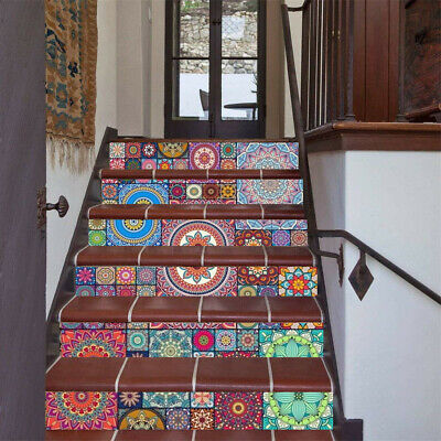 Colorful Stairs Tile Risers Mural Vinyl