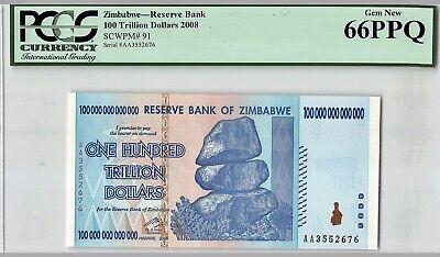 ZIMBABWE 2008 100 TRILLION DOLLARS RESERVE BANK OF ZIMBABWE AA P-91 GEM UNC
