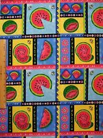 Watermelon Bees Flowers Cotton Fabric By The Yard Bty