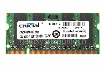 Crucial 2GB 2RX8 DDR2-800MHz PC2-6400 200PIN SO-DIMM Laptop Memory RAM PC6400