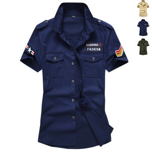 Men-039-s-Short-Sleeve-Quick-Drying-Army-Shirt-Tactical-Training-Casual-Work-Tops