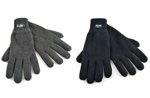 Gents-3M-Thinsulate-Lined-Thick-Quality-Knitted-Gloves-GL130-Black-Dark-Grey