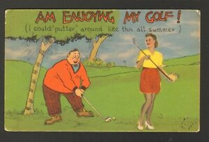 Unused-Postcard-Comic-Am-Enjoying-My-Golf-I-could-Putter-around-Sexy-Girl