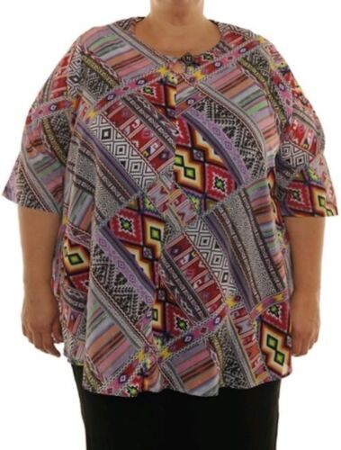 We Be Bop Keyhole Swing Top  BOPtops  All Cotton Plus Size Woven Art 0X to 6X