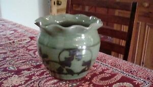 Studio-Pottery-North-Devon-NP-Pottery-Green-Glaze-Bowl-Vase