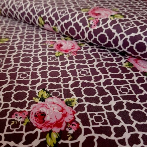 Deep Purple//Mauve Treillis Roses Fenton House 100/% Coton Tissu Gutermann Fleur