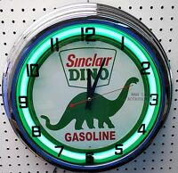 17 Sinclair Dino Gasoline Motor Oil Gas Station Sign Neon Clock