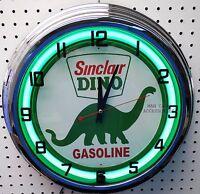 17 Sinclair Dino Gasoline Motor Oil Gas Station Sign Neon Clock