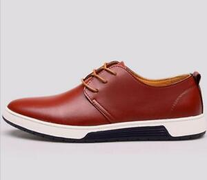 British-Men-Casual-Genuine-Leather-Shoes-Lace-up-Sneakers-Oxford-New