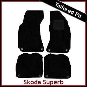 SKODA-Superb-Mk1-2001-2006-2007-2008-a-Medida-Alfombra-Alfombrillas-De-Coche-Negro-Equipada