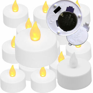 Qty-12-Battery-Operated-Flickering-AMBER-LED-Tealights-Tea-Lights-Flameless