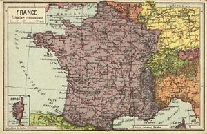 France Monaco Corsica Jeheber Map With Country Info 1910s Ebay