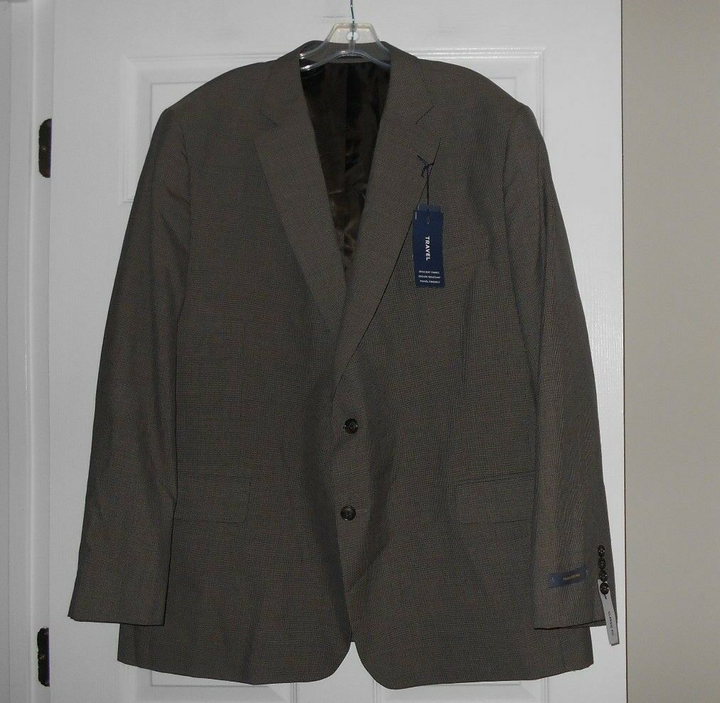 Stafford brand men's sportscoat classic fit  Chocolate Heather  NWT size 50 Reg