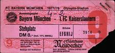 Ticket BL 77/78 FC Bayern München - 1. FC Kaiserslautern